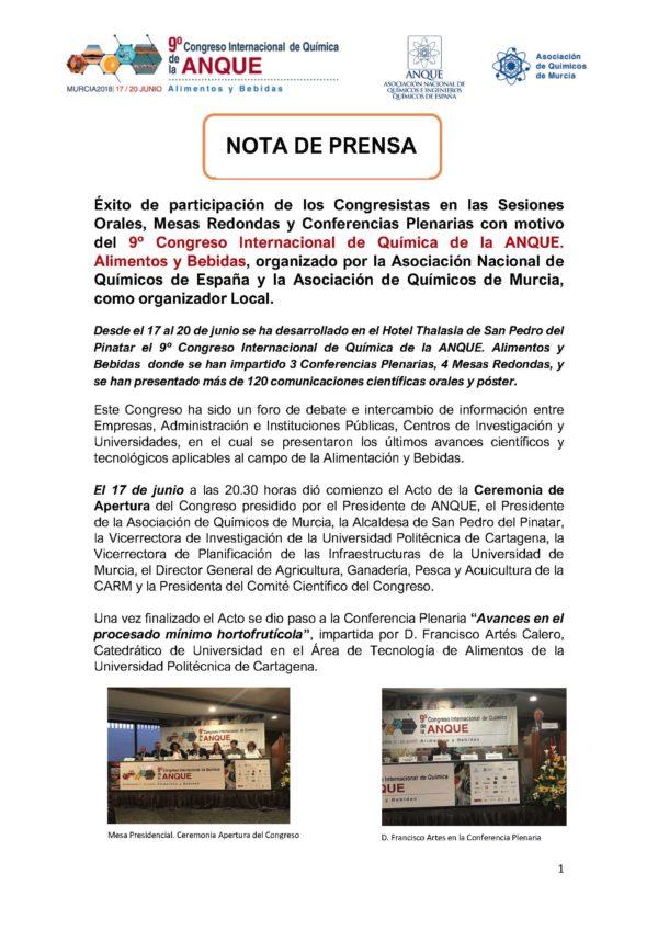 Éxito de participación de los Congresistas en las Sesiones Orales, Mesas Redondas y Conferencias Plenarias con motivo del 9º Congreso Internacional de Química de la ANQUE. Alimentos y Bebidas, organizado por la Asociación Nacional de Químicos de España y la Asociación de Químicos de Murcia, como organizador Local.