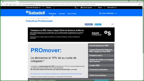Oferta Sabadell para Colegiados