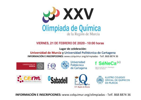 Se convoca la XXV OLIMPIADA DE QUÍMICA DE LA REGIÓN DE MURCIA 2020. Viernes 21 de febrero, 10.00h