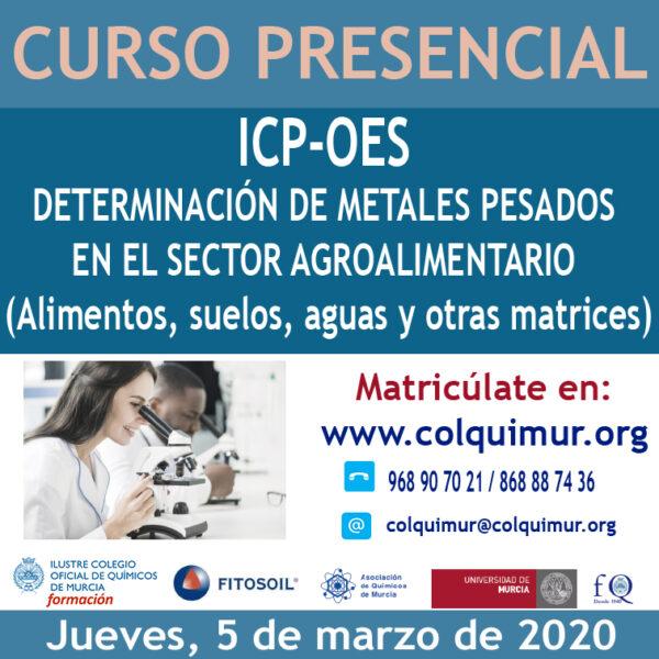 CURSO ICP-OES DETERMINACIÓN DE METALES PESADOS EN EL SECTOR AGROALIMENTARIO (Alimentos, suelos, aguas y otras matrices)