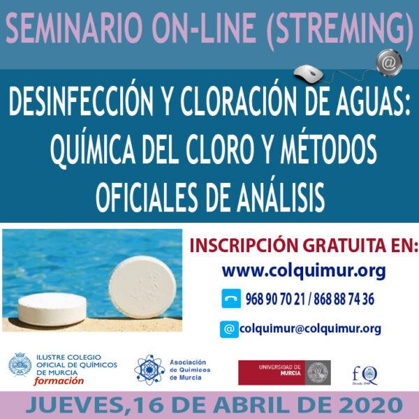 ON-LINE (Streaming) DESINFECCIÓN Y CLORACIÓN DE AGUAS: QUÍMICA DEL CLORO Y MÉTODOS OFICIALES DE ANÁLISIS