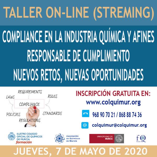ON-LINE (STREMING) COMPLIANCE EN LA INDUSTRIA QUÍMICA Y AFINES RESPONSABLE DE CUMPLIMIENTO NUEVOS RETOS, NUEVAS OPORTUNIDADES